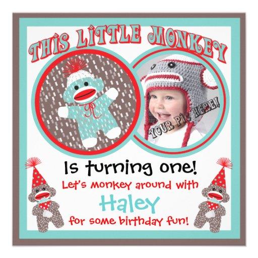 Baby Sock Monkey Birthday Party Invitations