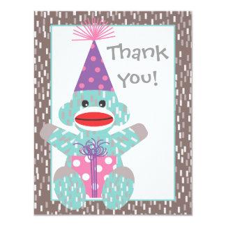 Baby Sock Monkey Birthday Thank you note card