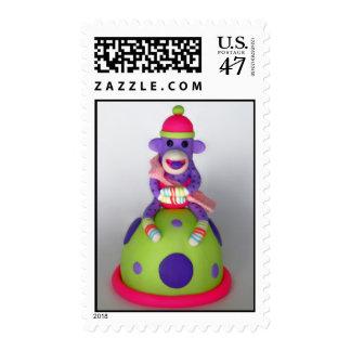 Baby Sock Monkey Purple Pink with Stripes Postage
