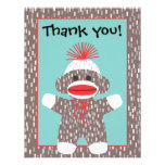 Baby Sock Monkey Thank you note card announcement