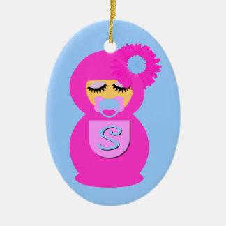 Baby Sofia Babushka Double-Sided Oval Ceramic Christmas Ornament