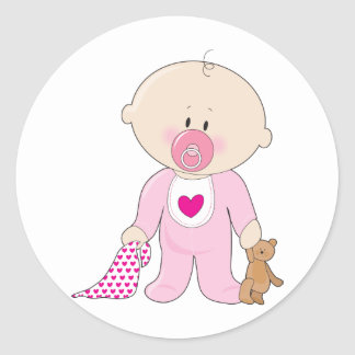 Baby Soother Girl Round Stickers