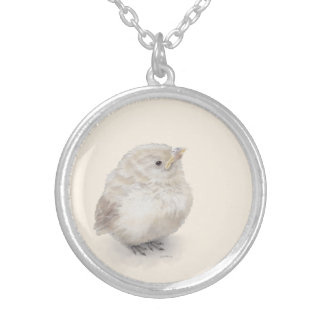 Baby Sparrow Digital Watercolor Silver Plated Necklace
