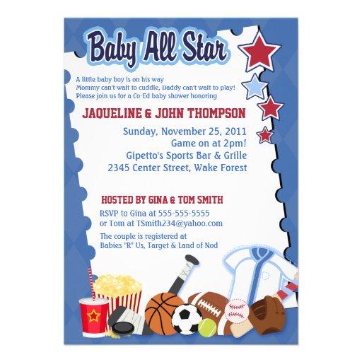 BABY SPORTS FAN ALL STAR Baby Shower Invitation