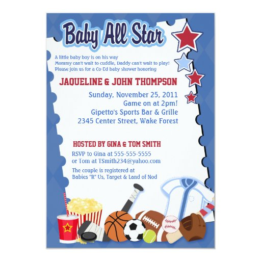 BABY SPORTS FAN ALL STAR Baby Shower Invitation