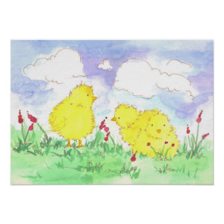 Baby Spring Chicks Children's Poster Print