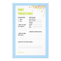 Baby Sprinkle Baby Predictions Card - Blue