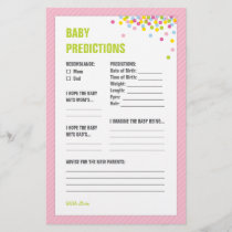 Baby Sprinkle Baby Predictions Card - Pink
