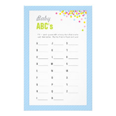 Baby Sprinkle / Baby Shower Abcs Game - Blue Stationery at Zazzle