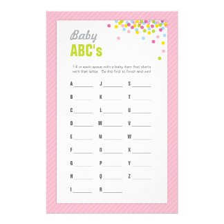 baby sprinkle baby shower abcs game pink stationery
