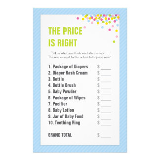 Baby Sprinkle / Baby Shower Price is Right - Blue Stationery