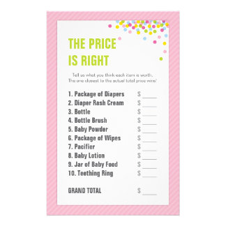 Baby Sprinkle / Baby Shower Price is Right - Pink Stationery