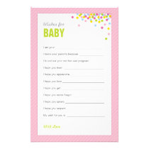Baby Sprinkle / Baby Shower Wishes for Baby - Pink Stationery