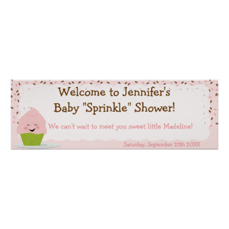 Baby Sprinkle Banner In Pinks Poster