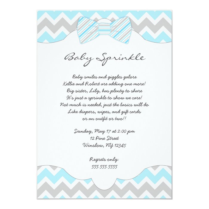 baby sprinkle blue bow tie baby shower invites zazzle