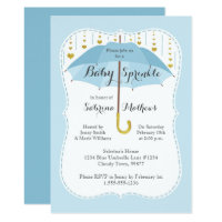 Baby Sprinkle Boy Shower Blue Umbrella Invitation