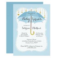Baby Sprinkle Boy Shower Blue Umbrella Invitation
