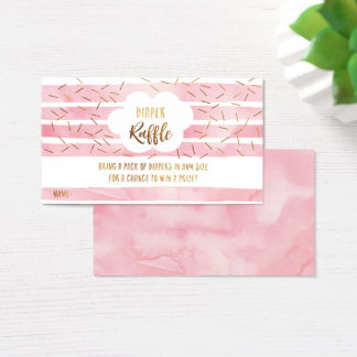 Baby Sprinkle Diaper Raffle Cards - Pink and Gold