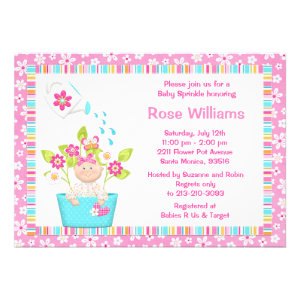 Baby Sprinkle Flower Pot Girl Shower Invitation