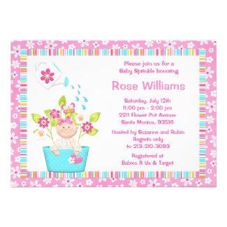 Baby Sprinkle Flower Pot Girl Shower Invitation