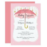 Baby Sprinkle Girl Shower Pink Umbrella Invitation