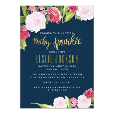 Toddler & Baby themed Baby Sprinkle Invitation Navy and Gold