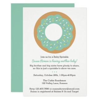 Baby Sprinkle Mint Colored Donut Invitation
