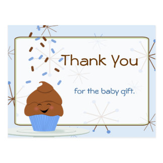 Baby Sprinkle Party Thank You in Blue Postcard