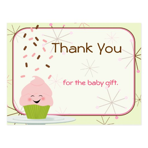 Baby Sprinkle Party Thank You in Pink Postcards