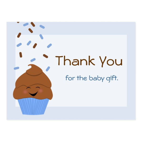 Baby Sprinkle Party Thank You Postcard in Blue
