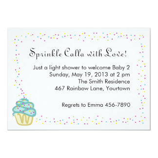 Baby Sprinkle Shower Invitation with Blue Cupcake