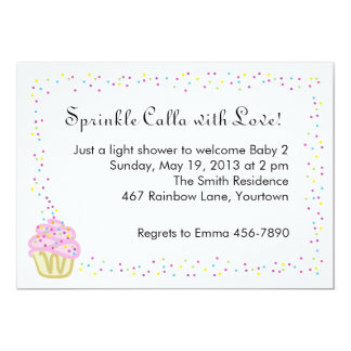 """Baby Sprinkle Shower Invitation with Pink Cupcake 5"""" X 7"""" Invitation Card"""
