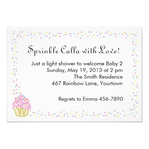 these baby shower sprinkle invites feature a sweet pink cupcake within