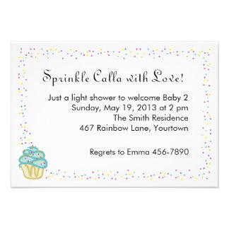 Baby Sprinkle Shower Invite with Blue Cupcake