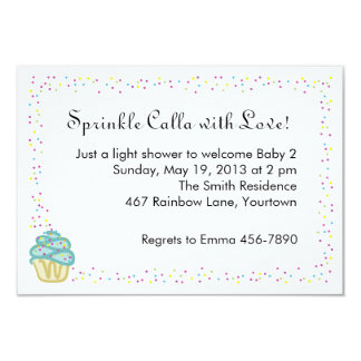 """Baby Sprinkle Shower Invite with Blue Cupcake 3.5"""" X 5"""" Invitation Card"""
