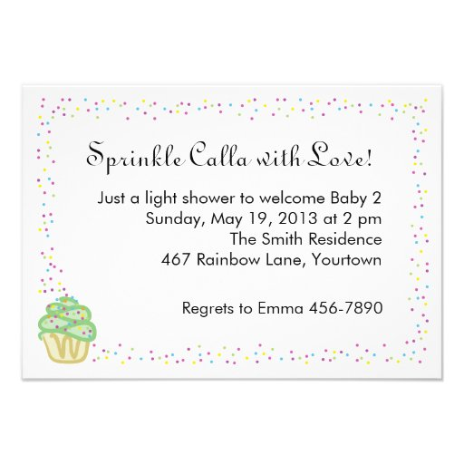 Baby Sprinkle Shower Invite with Green Cupcake