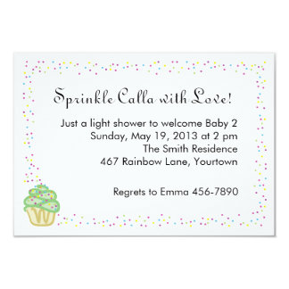 """Baby Sprinkle Shower Invite with Green Cupcake 3.5"""" X 5"""" Invitation Card"""
