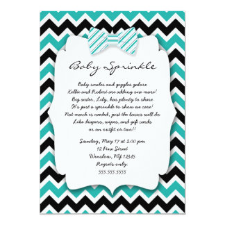 Baby Sprinkle Teal Green Black Bowtie baby shower 5x7 Paper Invitation Card