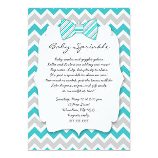 Baby Sprinkle Turquoise gray Bow tie baby shower Card