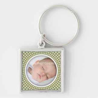 Baby square photo frame - olive green keychain