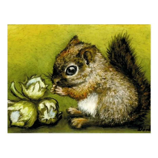Baby squirrel and hazelnuts postcard