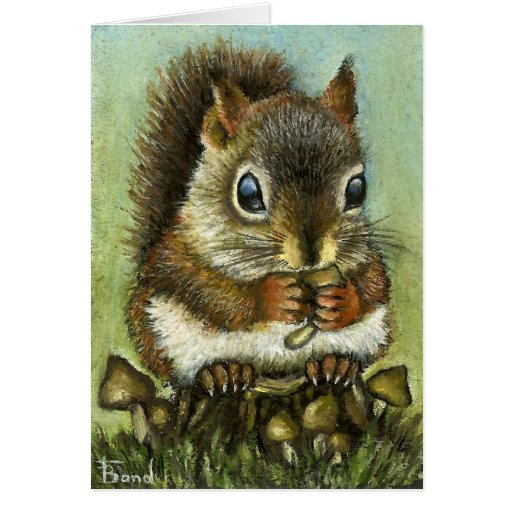 Baby squirrel and mushrooms card