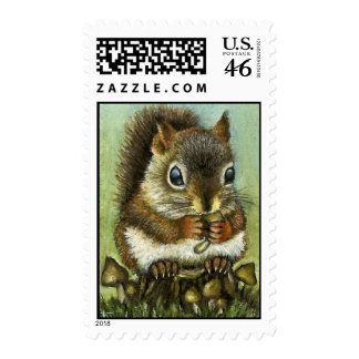 Baby squirrel and mushrooms postage stamps