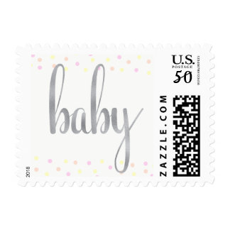 Baby stamps, pink/yellow/orange, small postage