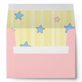 Baby Stars and Stripes Pink Envelope envelope