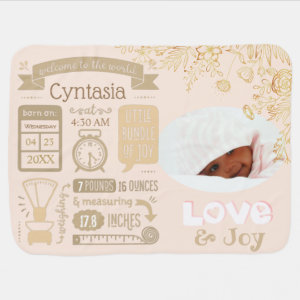 Baby Stats Birth Announcement Custom Colors Baby Blanket
