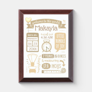 Baby Stats Birth Announcement in Tan Award Plaque