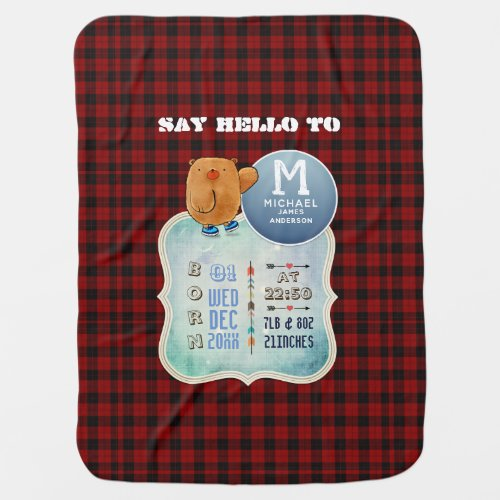 Baby STATS Buffalo Plaid Rustic Announcement Baby Blanket