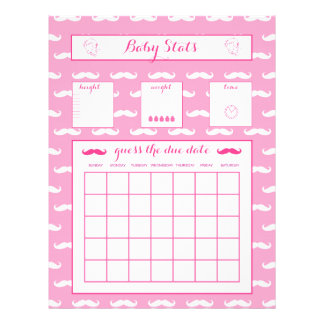 "Baby Stats Guess The Due Date Baby Shower game 8.5"" X 11"" Flyer"
