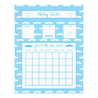 "Baby Stats Guess The Due Date Baby Shower game Boy 8.5"" X 11"" Flyer"
